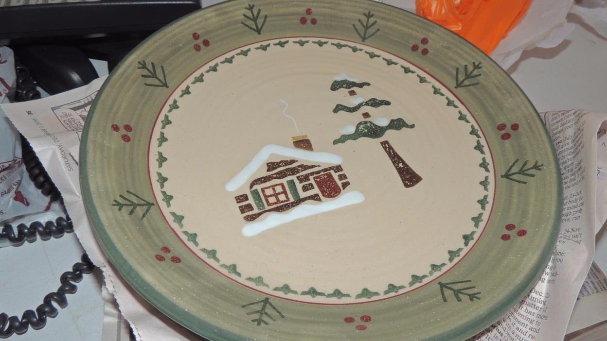 Set 4 Williams Sonoma / Home Goods LODGE moose Cabin Pine Dinner Plate Holiday
