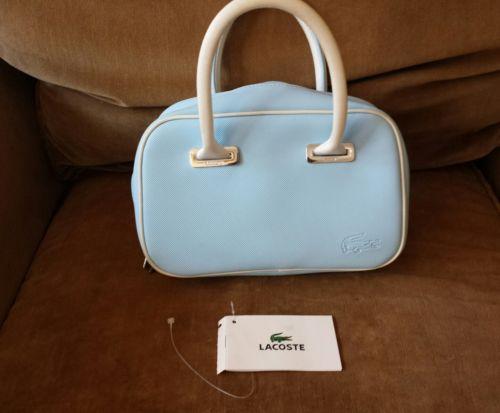 LACOSTE Ladies Mini Handbag Purse Satchel Classic 2.17 Sky Baby Blue AUTHENTIC