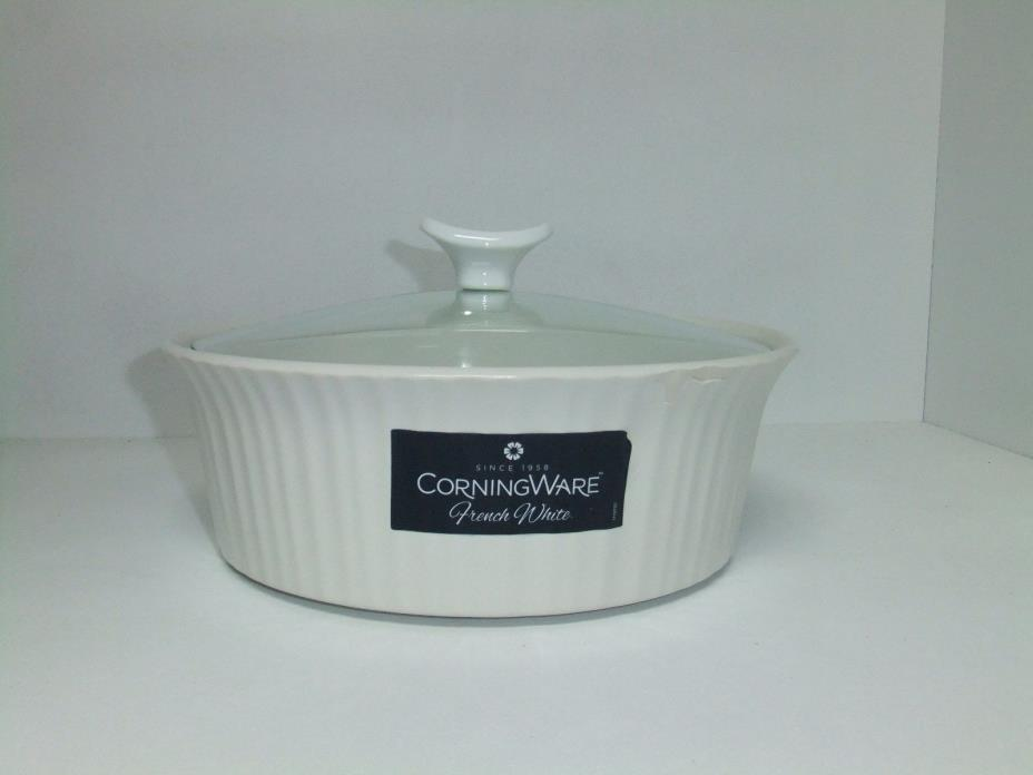 Corningware French White 2.5 Quart Round Casserole Dish with Glass Lid