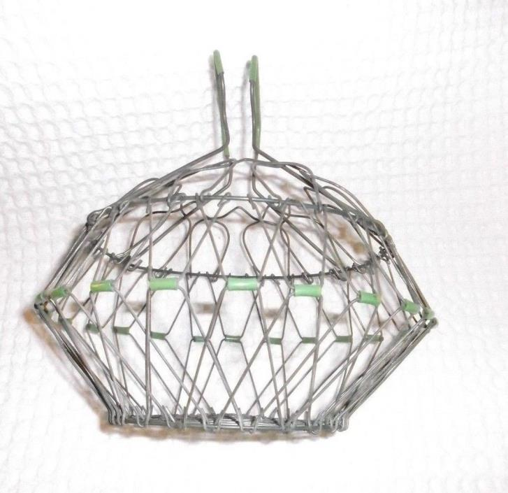 Antique Farm Egg Gathering Basket Chicken Coop Wire Metal w/ Green EXCELLENT
