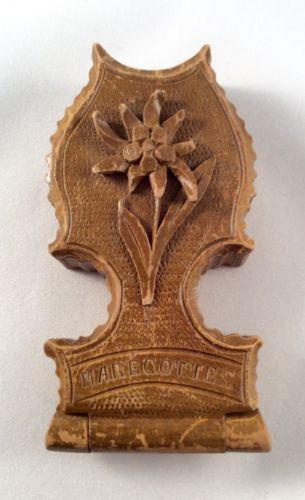Antique Black Forest Carved Wood Pocket Watch Holder Case Signed Marecottes