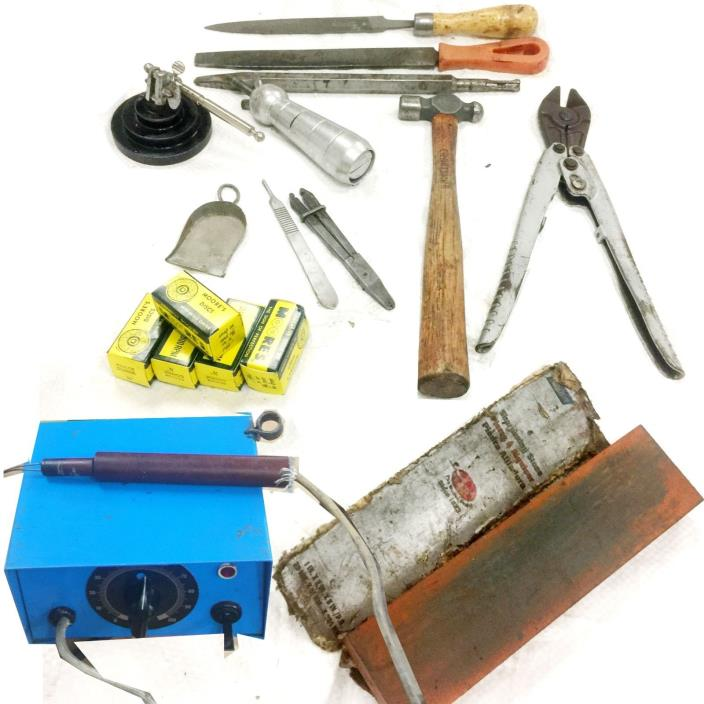 JEWELERS  TOOLS LOT WAX PEN  BERGEON CUTTER HAMMER RING CLAMP  ETC.