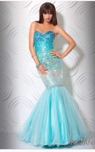 BNWT JOVANI LIMITED EDITION FITTED MERMAID PROM FORMAL EVENING DRESS SZ 2