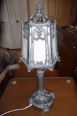 Very Detailed Antique Slag Glass 6 Panel Lamp