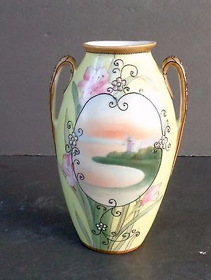 NIPPON JAPAN DOUBLE HANDLED VASE, MORIAGE ON HANDLES - FLORAL HAND PAINTED