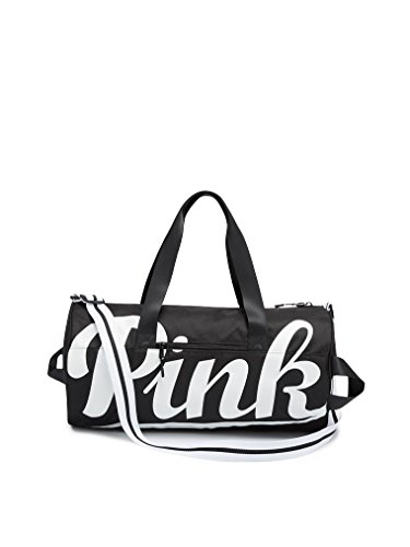 Victoria's Secret Pink Duffle Gym Bag Pure Black Script White Logo