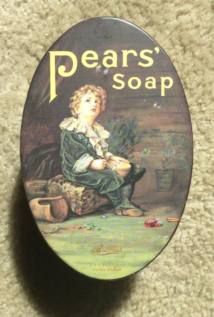 Vintage Retro PEARS SOAP Oval Tin Advertising Lillie Langtry Quote ~ RARE