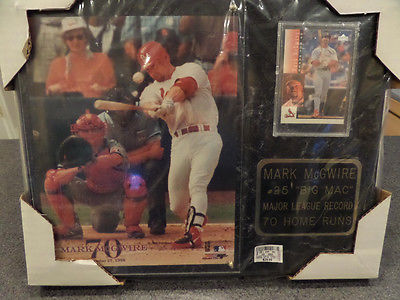Mark McGwire 8 x 10 photo on Marble Plaque with Baseball card