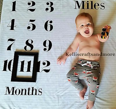 Personalized Baby Milestone blanket Baby Monthly Photo Prop First Year throw