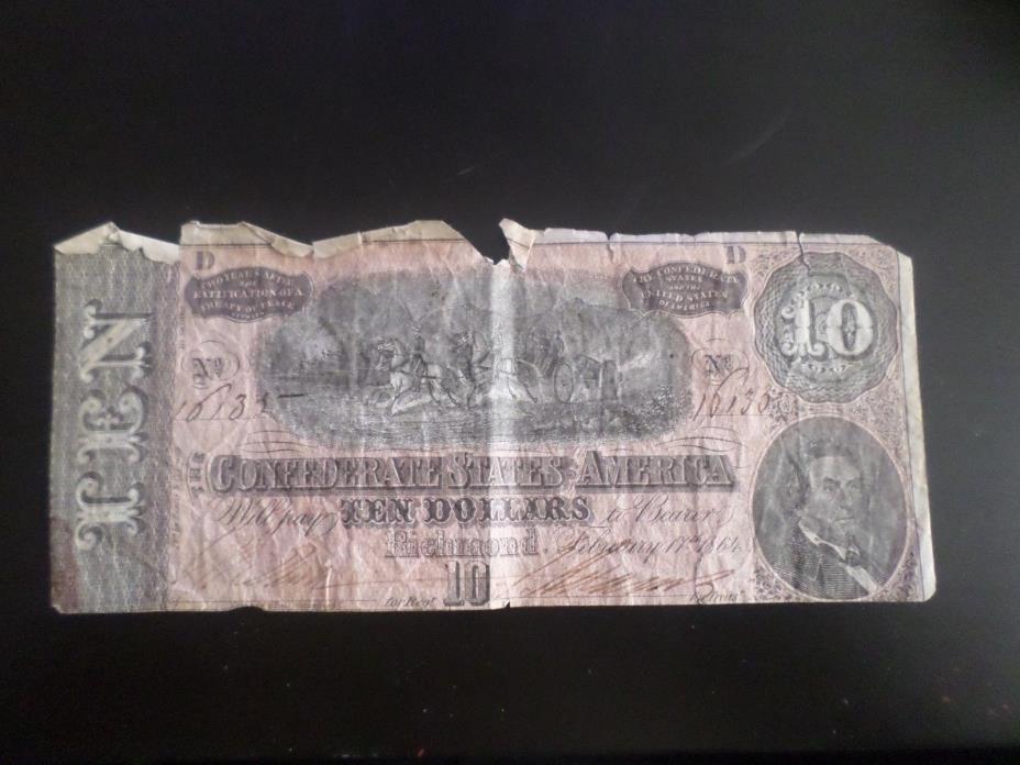 10 Dollar Confederate Bill
