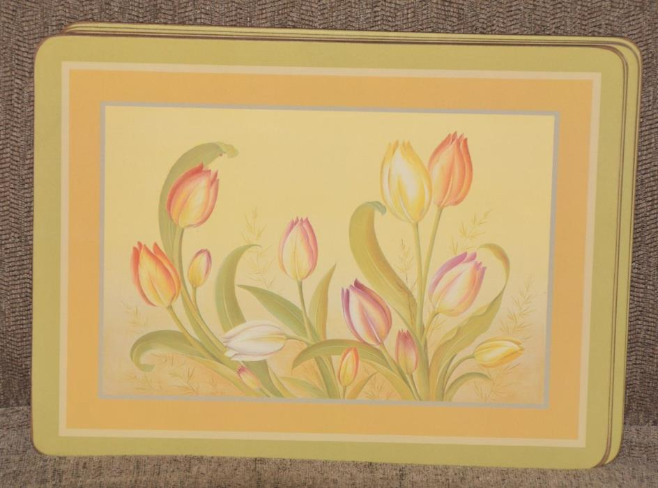 Pimpernel Cork Placemats Set of 6 Tulips Made in England