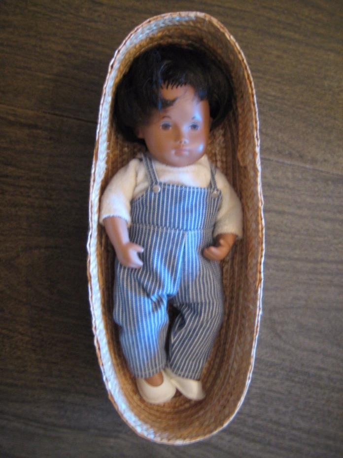 Vintage Sasha Baby Boy Doll in Basket