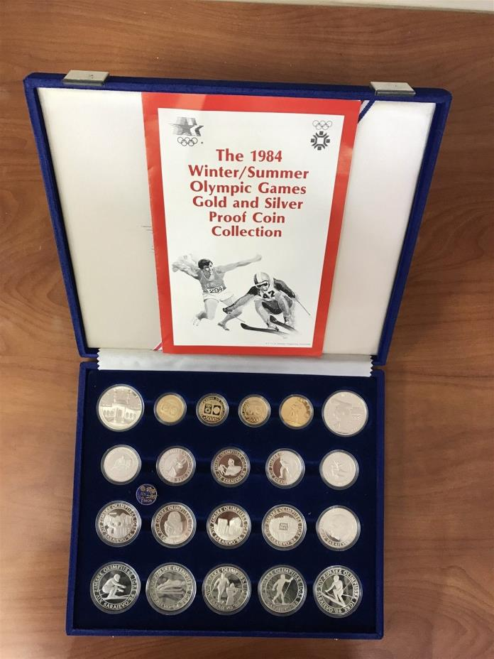 1984 Olympics US & Yugoslavia Gold &  Silver Coin Proof Set
