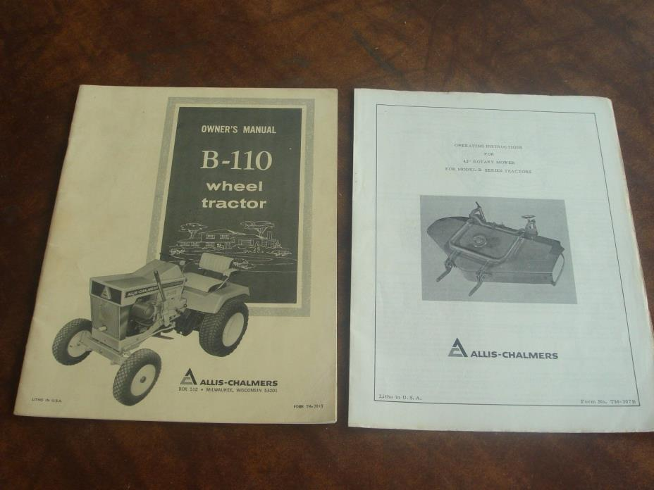 Vintage Allis Chalmers B-110 Lawn Garden Wheel Tractor Operators Manual Original