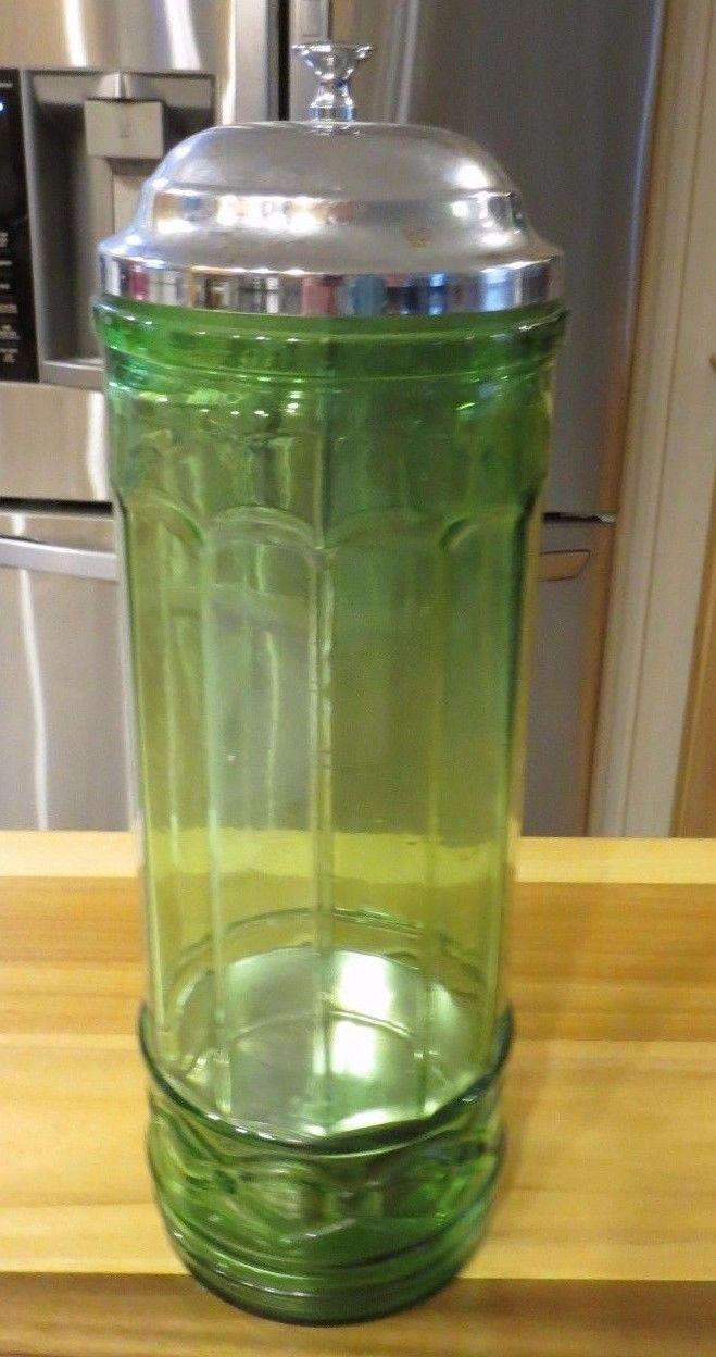 GREEN GLASS STRAW HOLDER DISPENSER W/ CHROME LID RESTAURANT STRAWS