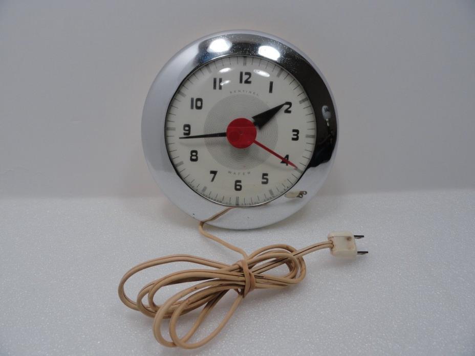 Ingraham Clock Co. Sentinel Wafer Art Deco Wall Clock Chrome 1940's Atomic