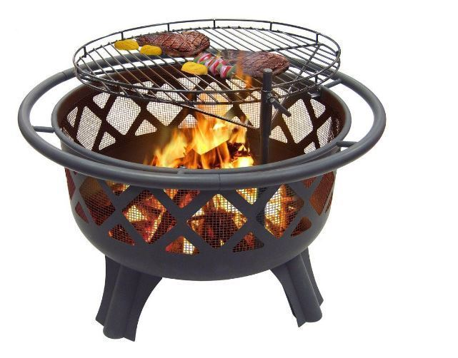 Outdoor Crossfire 29.50 in. Steel Fire Pit with Cooking Grate Fireplace Patio