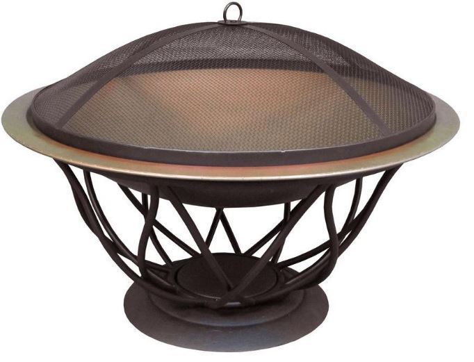 Maison 30 in. Copper Finish Bowl Fire Pit Cover Screen Outdoor Fireplace Patio