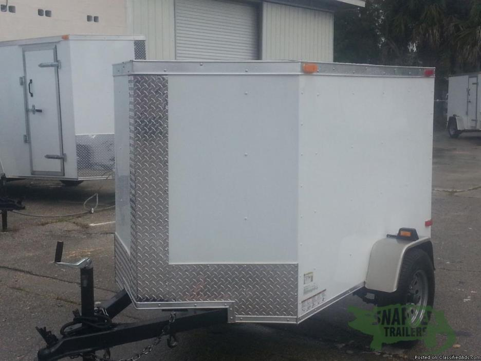 Enclosed Trailer with No Side and Vnose - 4ft. by6ft. White EXT.