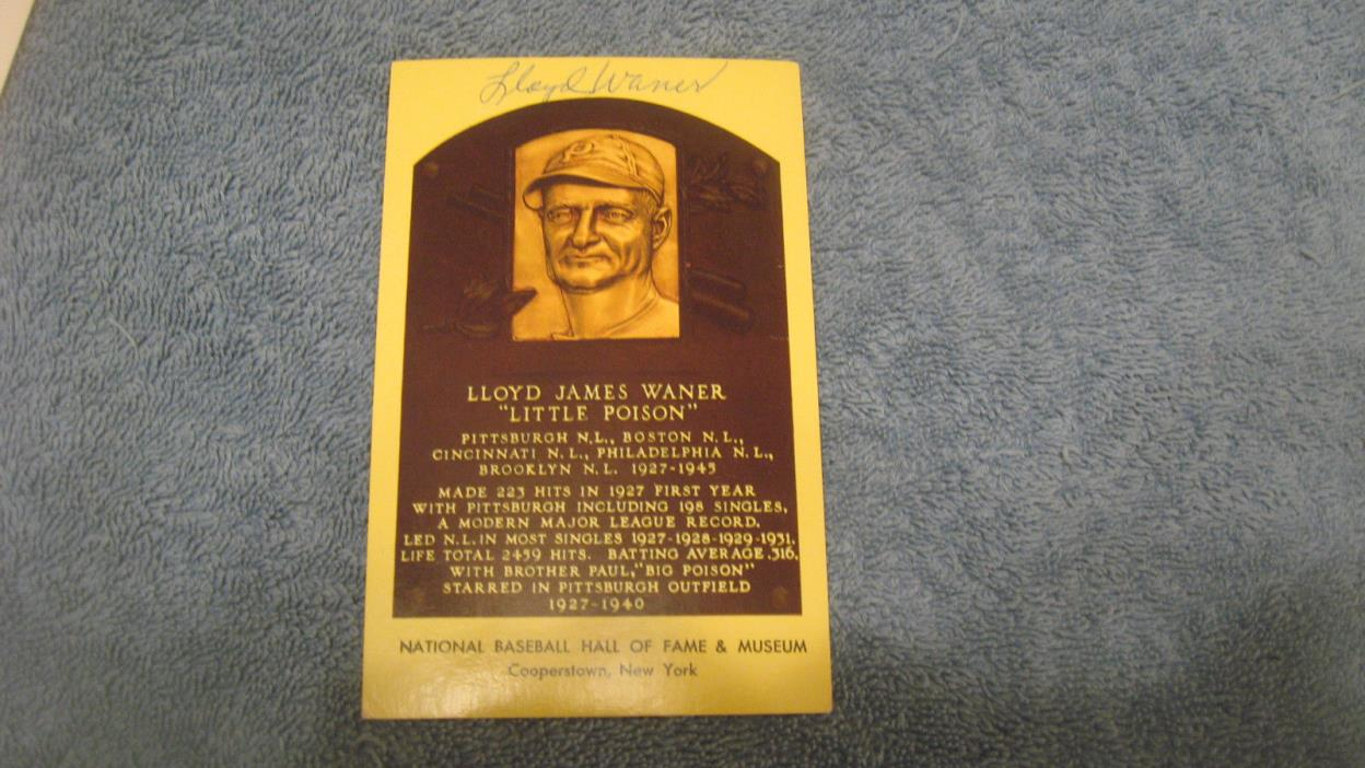 4 Different autographed Lloyd Waner autographed baseball HOF Plaque postcards.