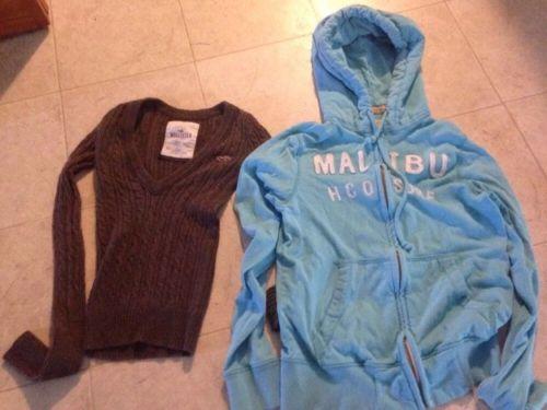 Lot Of Women's XS Hollister Tops: Full Zip Aqua Hoodie + Brown V Neck Sweater