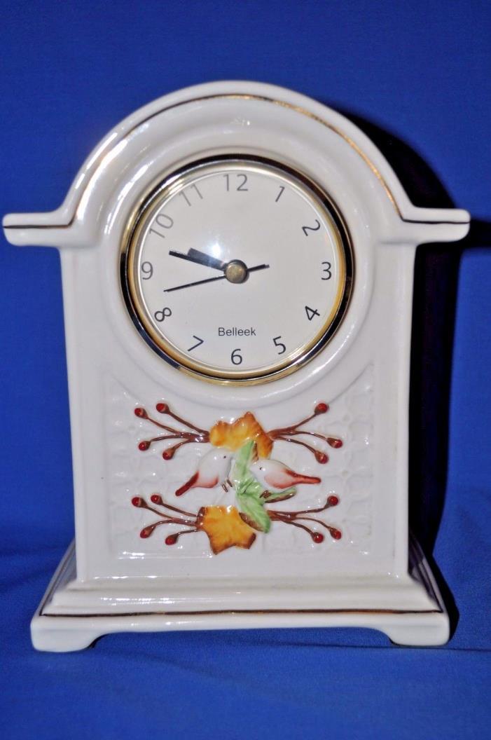 VINTAGE BELLEEK PORCELAIN MANTLE CLOCK WITH BIRDS