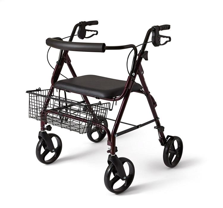 Rollator Medical Walkers Medline Walker Padded Seat Bariatric Wheels Extra Wide