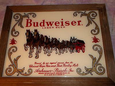 Vintage Budweiser glass beer sign