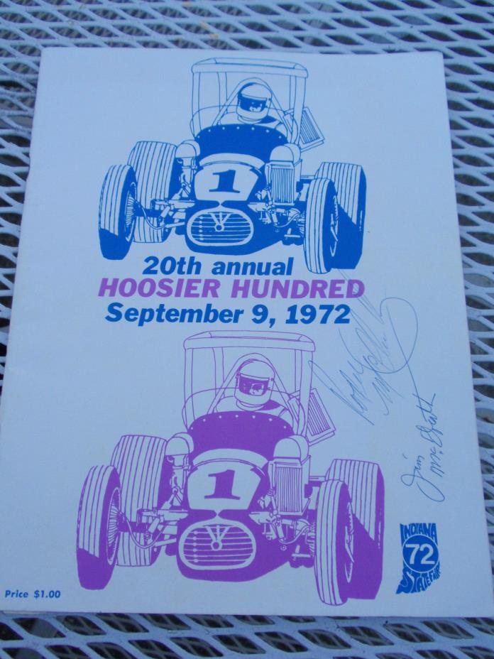 1972 Hoosier Hundred Dirt Track Racing Program ~Signed