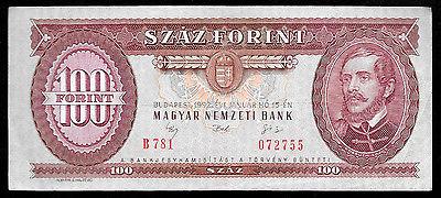 World Paper Money - Hungary 100 Forint 1992 P174  @ VF Cond. Ref. #755