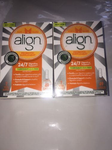 Lot Of 2 Align Probiotic Digestive Care Supplement 7 Weeks 98 Capsules Exp6/2017
