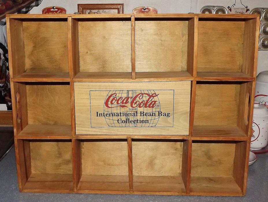 COCA COLA INTERNATIONAL BEAN BAG WOOD DISPLAY SHELF/SHADOW BOX COCA COLA