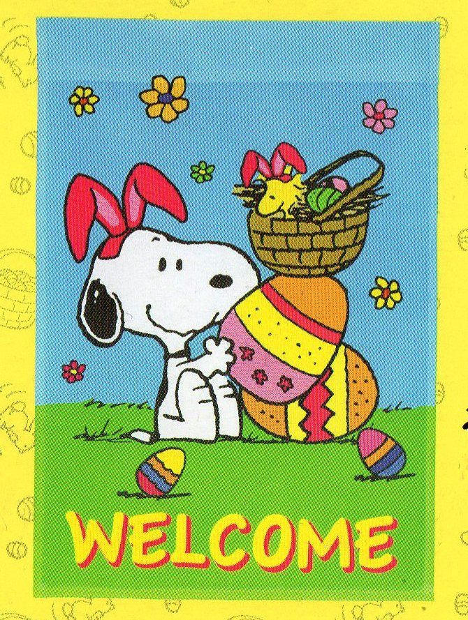 Peanuts Easter WELCOME mini flag 12x18 New! Snoopy & Woodstock