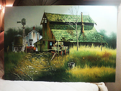 Listed Robert Fox Folk Art Farm Scene Oil Painting Signed