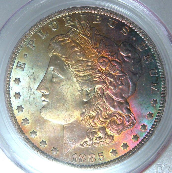 1885-O RAINBOW TONED MORGAN SILVER DOLLAR~PCGS MS64 CAC~COLORFUL OBVERSE TONING*