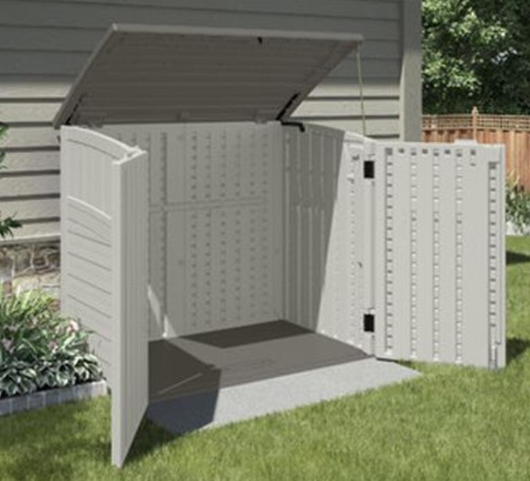 Storage Shed Tools Pool Toys Bikes Lawn Supplies Yard Horizontal Utility Cabinet