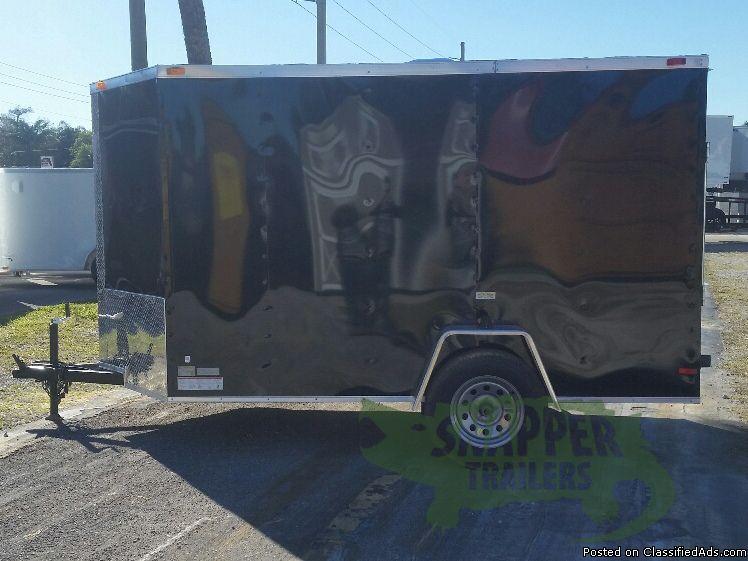 6 foot x10 foot Black Enclosed Trailer w/Side Door & Single 2990 Axle - NEW...