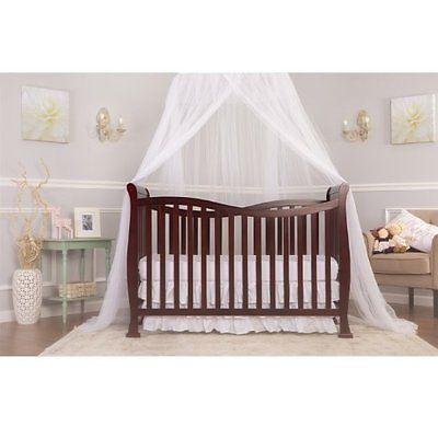 7 in 1 Convertible Newborn Infant Toddler Nursery Cherry Wood Guardrail Crib
