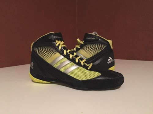 Men's Adidas Response III 3 Boxing Wrestling Shoes Size 9.5 Black Gold Yellow