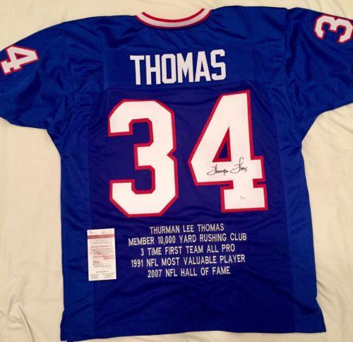 Thurman Thomas Autographed Buffalo Bills Stat Jersey JSA COA