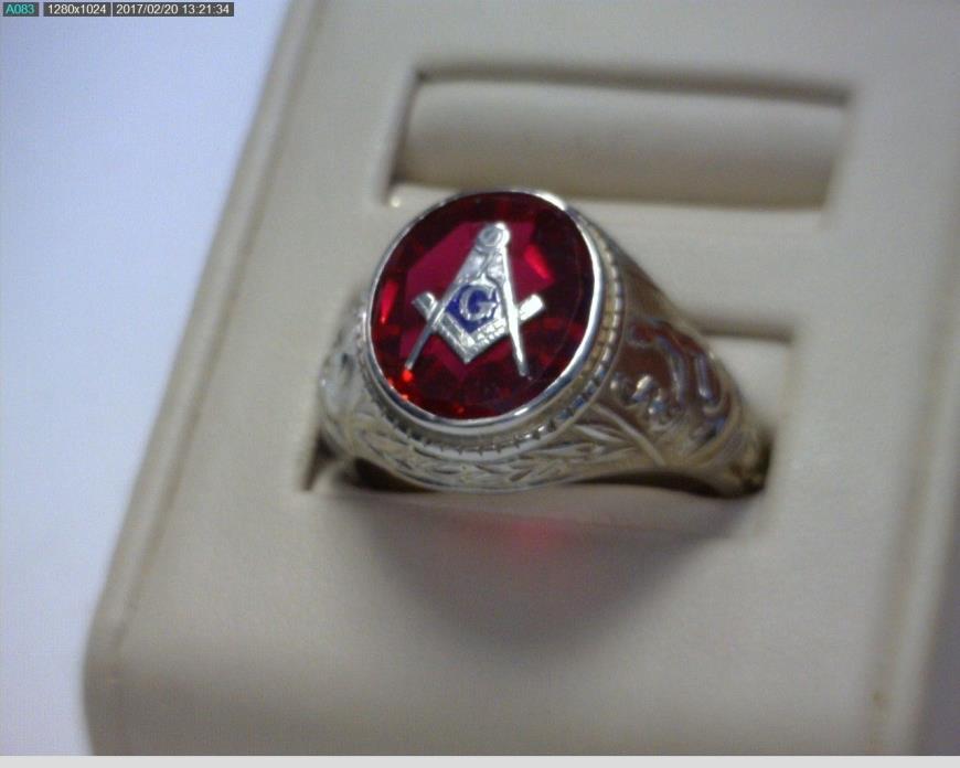 14kt. White Gold Masonic Ring