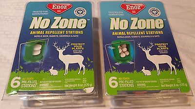 2 GENUINE ENOZ No Zone Animal Repellent Stations 6 No Touch PreFilled Stations