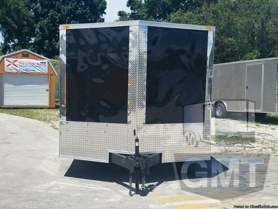 Snapper Trailers : 8.5x14 Tandem Axle Black Enclosed Cargo Trailer w/ Ramp