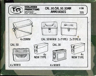 Verlinden Productions 1:35 Cal.30, Cal.50, 20mm Ammo Boxes Diorama #305