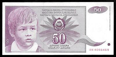 World Paper Money - Yugoslavia 50 Dinara 1990  P104 @ Crisp AU Ref.# 469