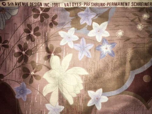 Vintage 5th Ave Designs Vat Dye Schreinered Scotchguard ESD Large Floral Fabric