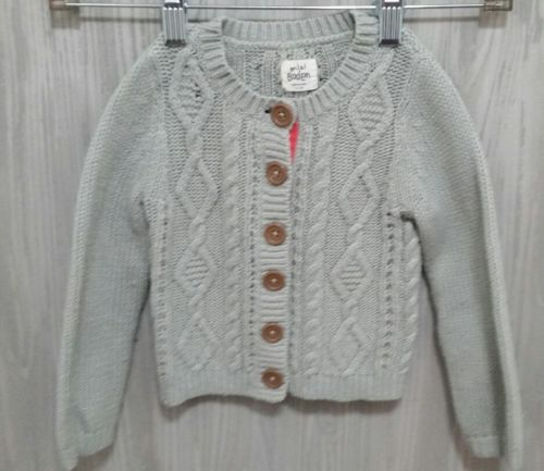 Mini Boden Girls Gray Button Front Cardigan Size 2-3Y Long Sleeve