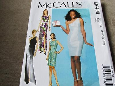 McCALL'S  WOMENS  EVENING DRESS  PATTERN #MP498   SIZE 16 - 22  UNCUT