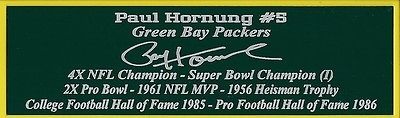 Paul Hornung Autograph Nameplate Green Bay Packers Football Helmet Jersey
