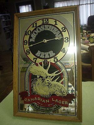 Moosehead Canadian Lager Beer Mirror Clock 21.5 x 13 Works Nice!